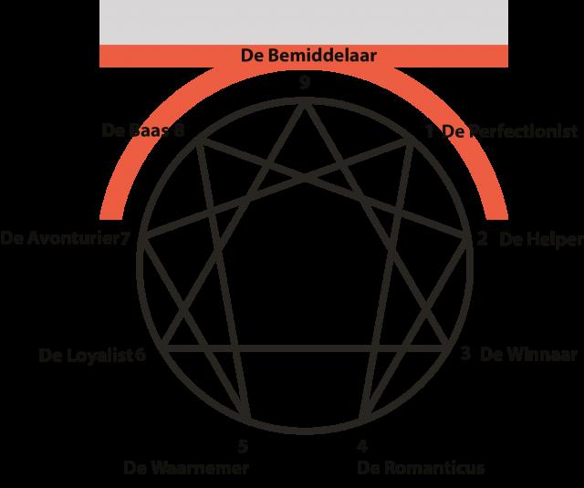 Enneagram met de negen types gecombineerd met het logo van Kleiborn Coaching